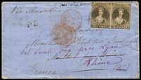 Lot 1440 [1 of 2]:1862 (Sep 16) cover with Imperf 6d black-brown (SG #41?) pair (margins just touching to large, except where cut-into at the base of the second unit) tied by neat '14' cancels of 'PICTON' (poor backstamp), fine unframed 'P.D.' handstamp applied at WellIngton (?), French 'POSS ANG V SUEZ/13/JANV/63/MARSEILLES' mailboat sorter in red on the face, redirected on arrival & with four French backstamp. Carried per Madras, departed Sydney 22/11/1862; mail arrived Malta 10/1/1863 & Marseilles 13/1/1863. [From 5/4/1862, mail to France could be partly-paid, or fully paid, to destination. Duplicate sets of instructional handstamps including 'P.P.' & 'P.D.' were sent to Auckland and Wellington: see Ellott (2009) at page 53. The rate was the standard 6d + 4d per ¼oz so the cover was overpaid 2d for a ¼oz letter.] Ex Benvie.