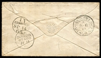 Lot 1441 [2 of 2]:1863 (Jul 11) cover to Scotland with attractive franking of Perf 13 at Dunedin 1d orange-vermilion & 2d pale blue single & strip of 3 (probably SG #68 & 73), '016' cancels & fine double-circle 'GOLD FIELD/A/JY-11/63/OTAGO.N.Z.' backstamp used at Waitahuna, 'N.Z./DUNEDIN/OTAGO/JY14/6[3]