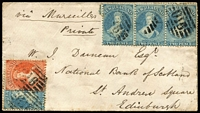 Lot 1441 [1 of 2]:1863 (Jul 11) cover to Scotland with attractive franking of Perf 13 at Dunedin 1d orange-vermilion & 2d pale blue single & strip of 3 (probably SG #68 & 73), '016' cancels & fine double-circle 'GOLD FIELD/A/JY-11/63/OTAGO.N.Z.' backstamp used at Waitahuna, 'N.Z./DUNEDIN/OTAGO/JY14/6[3]