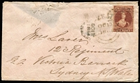 Lot 1443:1864 (Oct 13) cover to Mrs Laver/12 Regiment/Victoria Barracks/Sydney with Imperf 6d red-brown (SG #43 - margins just clear to large) tied by light strike of the undated 'QUEENS REDOUBT' handstamp & 'NEW ZEALAND' cds used at the Redoubt, partial Auckland cds alongside, repaired opening faults on the reverse & small opening fault at the top. From the period of the Second Maori War. Ex du Bois. Odenweller Cert (2006). [The sender was Quartermaster Robert Laver of the 12th (East Suffolk) Regiment of Foot that served in New Zealand from 3/10/1863 until 17/5/1867. With Gerald Ellott's remarkable Maori Wars collection now in the Museum of New Zealand Te Papa, collectors have few opportunities to obtain military covers from this important campaign.] Ex Benvie.