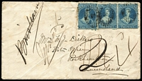 Lot 1444 [1 of 2]:1866 (Jan 14) cover to Post Office/Rockhampton with 2d deep blue Plate II single & pair, poor '5' cancels tied by 'TIMA