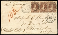 Lot 1445:1867 (Feb 1) cover with 6d red-brown strip of 3 (the last unit damaged at upper-right; overpaid 6d) tied by fine 'INVERCARGILL/FE1/67/SOUTHLAND.N.Z - 20