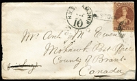 Lot 1449 [1 of 2]:1868 (Aug 10) cover with P12½ 6d red-brown (trimmed at right on opening) tied by poor cancel of 'OAMARU/OTAGO NZ' (b/s), 'NY STEAMSHIP/10' postage due handstamp & capsule 'U.S. 10cts' handstamp, 'MOHAWK/OC23/68/CW' arrival backstamp, repaired tear at lower-right. Carried per Mataura, departed Wellington 9/9/1868, arrived Panama 8/10/1868; mail arrived St Thomas 15/10/1868. [On 1/6/1867, the rate was halved to 6d per ½oz.]  The 'U.S. 10cts' handstamp was applied at the Buffalo (NY) exchange office. This is one of only two New Zealand covers recorded with this handstamp. [Mohawk PO 6/4/1836; renamed Mount Pleasant in 1922.] Ex Ellot & Benvie.
