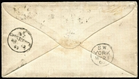 "Lot 1450 [2 of 2]:1869 (Feb 20) cover to Yorkshire with 3d deep mauve P12½ (SG #118) tied by 'C'-in-Bars cancel and Christchurch cds alongside, endorsed ""Detained for postage"" in red, a second example of the 3d affixed & similarly cancelled with a second Christchurch cds of MR13/69, largely very fine strike of the scarce British 'S.W./YORK/MY23/69' railway TPO backstamp (Harold Wilson #629a) used on the seasonal Scarborough & Whitby Sorting Carriage: see Wilson at page 163. Another very attractive cover. Carried per ""Avoca"", departed Melbourne 30/3/1869, mail arrived Southampton 22/5/1869. [The Panama New Zealand & Australian Royal Mail Co failed in late-1868. Until the via San Francisco route was established in March 1870, via Suez was again the primary route for mails from New Zealand.] Ex Antipodes & Benvie. Holcombe Opinion (1988) states the stamps are SG 117."
