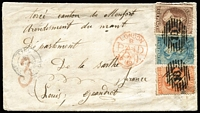 "Lot 1451 [1 of 2]:1871 (Sep 14) cover with 1d vermilion, 2d pale blue Plate I & 6d red-brown with manuscript cancels ""DB/14\/9\/71"" for Duvauchelle's Bay (Rated 10 by Wooders) & overstruck with bold '18' cancels of Rangiora, fine 'LYTTELTON' & 'CHRISTCHURCH' transit backstamp, London transit cds of 27NO71 & 'PD'-in-circle both in red & French 'ANGL/AMB CALAIS A' cds all on the face & part-'PARIS A BREST' TPO backstamp, repaired flap faults. Carried per Nebraska, departed Auckland 7/10/1871, arrived San Francisco 5/11/1871; mail arrived Plymouth 26/11/1871. [Duvauchelle's Bay was a tiny French settlement near Akaroa. The PO opened 1/1/1861; renamed Duvauchelle 1/12/1879.] Ex Woolfe & Benvie."