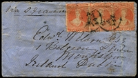 Lot 1456 [1 of 2]:1874 (Jun 4) cover to Ireland with 2d orange P12½ strip of 3 tied by 'GISBORNE' cds, 'NAPIER' transit backstamp & superb 'MONKSTOWN/JY28/74' arrival backstamp, ironed-out creases, repaired tear on the face at right & part-flap missing. Carried per City of Adelaide, departed Auckland 8/6/1874; arrived San Francisco 8/7/1874; mail arrived Queenstown 27/7/1874. [The Gisborne cds is very scarce in the pre-1880 period.] Ex Benvie.