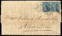 Lot 1458 [1 of 2]:1875 (Apr 9) Turnbull & Co entire with 6d blue First Sideface pair tied by 'D/ZN/WELLINGTON/AP9/75 - W' duplex (sic reads 'ZN' instead of NZ!), Dunedin & 'ADEN STEAMER POINT' transit (indecipherable date) & 'MAURITIUS/JU6/75' arrival backstamp, rather dessicated & with internal splitting/reinforcing. Carried per China, departed Melbourne 20/4/1875, arrived Galle 11/5/1875, trans-shipped to Aden & Mauritius. Ex Benvie.