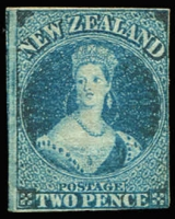 Lot 1365:1857-63 Chalons Wmk Large Star Imperf 2d blue on thin hard paper, 1 good & 3 close/touching margins, SG #10, slight oxidation, MNG, Cat £1,300.
