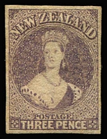 Lot 1369:1860-64 Chalons Wmk Large Star Imperf 3d brown-lilac 4 margins, SG #40, full gum, Cat £600.