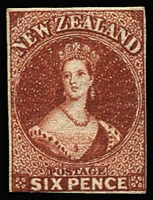 Lot 1370:1860-64 Chalons Wmk Large Star Imperf 6d red-brown 4 close/touching margins, SG #43, full gum, Cat £1,600.