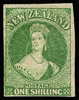 Lot 1371:1860-64 Chalons Wmk Large Star Imperf 1/- green 4 margins, SG #44, MNG, Cat £2,250.