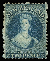 Lot 1374:1864-71 Chalons Wmk Large Star Perf 12½ 2d blue plate II, SG #115, full gum, Cat £225.