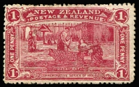 Lot 1390:1906 Christchurch Exhibition 6d claret, SG #371a, 3 miniscule pinholes detract little from this fine stamp, Cat £8,000. One of the classic colour errors of philately. The stamp was not intended to be released as the colour was considered too dark, however one sheet was accidently included for sale at the exhibition and this stamp is from that original sheet. Later examples, from presentation packs, have a white gum.