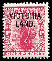 Lot 1460 [2 of 2]:1911-13 Victoria Land ½d green & 1d carmine SG #A2-3, Cat £825. (2)