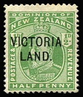 Lot 1460 [1 of 2]:1911-13 Victoria Land ½d green & 1d carmine SG #A2-3, Cat £825. (2)
