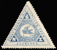 Lot 1596 [2 of 2]:The Great Barrier Pigeongram Agency Perf 11½-12: 6d blue & 1/- red triangulars CP #VP7 & 8. The 1/- is believed to be a forgery, although Campbell Paterson notes that it may be an early essay released in error. He had only seen one example. An imperforate example is also recorded. (2)