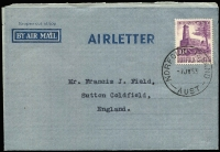 Lot 1301:1945-50 AIRLETTER Deep Blue on Grey with prominent AI flaw, philatelic use 1953 with 10d Salthouse.