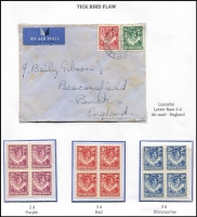 Lot 1486 [2 of 6]:1924-64 mixed mint & used 15 page mounted display, blocks of 4 are plentiful, also several air covers are included. Includes KGV to 20/- x3 (fiscally used), KGVI to 10/- used with ½d block of 4 Waterlow proof with small punch holes (cost vendor $350+), 1½d yellow-brown Tick bird used (Cat £70), ½d Rhodes plate block of 4 with Re-entry [R10/6]. Nicely presented with plenty of room for expansion. (35+ items)