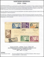 Lot 1486 [3 of 6]:1924-64 mixed mint & used 15 page mounted display, blocks of 4 are plentiful, also several air covers are included. Includes KGV to 20/- x3 (fiscally used), KGVI to 10/- used with ½d block of 4 Waterlow proof with small punch holes (cost vendor $350+), 1½d yellow-brown Tick bird used (Cat £70), ½d Rhodes plate block of 4 with Re-entry [R10/6]. Nicely presented with plenty of room for expansion. (35+ items)