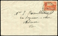 Lot 988:Quorn-Alice Springs TPO: 'QUORN-ALICE SPRINGS/25DE34/T.P.O.' on 2d Vic Centenary on cover to Melboune.