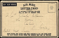 Lot 1024 [1 of 2]:1948 (Apr 5) use of formular Air Mail Letter Card from Jesselton to St Lucia, 15c pair on back. Contents are social and discuss the Police setup etc.