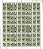 Lot 1638 [2 of 4]:1941 Victory Wmk Posthorn set excl 14ø & 50ø and incl both shades of 15ø, in complete sheets of 100, SG #301A-16A, Cat €10,000. (12 sheets)