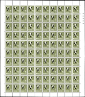 Lot 1638 [1 of 4]:1941 Victory Wmk Posthorn set excl 14ø & 50ø and incl both shades of 15ø, in complete sheets of 100, SG #301A-16A, Cat €10,000. (12 sheets)