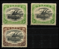 Lot 1229 [2 of 2]:1907-10 Large 'PAPUA' Perf 11 ½d black & yellow-green x2 & 2/6d black & chocolate x2, SG #47-8, Cat £158. (4)
