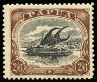 Lot 1229 [1 of 2]:1907-10 Large 'PAPUA' Perf 11 ½d black & yellow-green x2 & 2/6d black & chocolate x2, SG #47-8, Cat £158. (4)