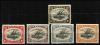 Lot 1232 [2 of 2]:1907-10 Small 'PAPUA' Perf 12½ 2d & 4d wmk upright & 1d, 2d, 2½d & 1/- wmk sideways all with Rift flaw, SG #55,57,67-69,71, Cat £200+. (6)