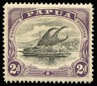 Lot 1232 [1 of 2]:1907-10 Small 'PAPUA' Perf 12½ 2d & 4d wmk upright & 1d, 2d, 2½d & 1/- wmk sideways all with Rift flaw, SG #55,57,67-69,71, Cat £200+. (6)