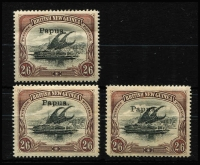 Lot 1228 [2 of 2]:1907 Small 'Papua.' Perf 12½ 2/6d black & brown x4, SG #37, odd trivial fault, Cat £200. (4)