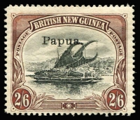 Lot 1228 [1 of 2]:1907 Small 'Papua.' Perf 12½ 2/6d black & brown x4, SG #37, odd trivial fault, Cat £200. (4)