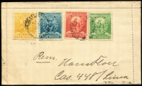 Lot 1492:1899 3c President Pierola HG #3, 1899 use from Lima to Germany, uprated with 1c, 2c, 5c & 10c Atahualpa.