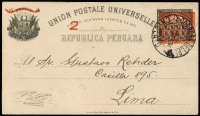 Lot 1489:1902 2c On 4c Post Office with the indicium being printed in both black & red, HG #56, 1904 use from Chiclayo to LIma.