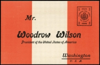 "Lot 1491 [1 of 2]:1919 2c Woodrow Wilson on red & white with printed address to Woodrow Wilson and a printed appeal for President Wilson to help look after Peru's interests. Not known used. Moll states ""They are extremely scarce""."