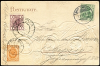Lot 1645:1905 Driekaiserreichs PPC with stamps of Germany, Austria & Russia cancelled Myslowitz, Szczakowa & ГРАРИЦА respectively, addressed to Leipzig. [Myslowitz is in Upper Silesia and at the time was on the border of Germany, Austria & Russia.]