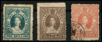 Lot 987 [2 of 2]:1866-68 Stamp Duty No Wmk 1/- MNG (small abrasion), 2/- MNG, 2/6d fiscal & 20/- fiscal, SG #F3-5,F8, Cat £1,650 for mint or postally used. (4)