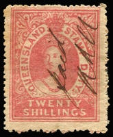 Lot 987 [1 of 2]:1866-68 Stamp Duty No Wmk 1/- MNG (small abrasion), 2/- MNG, 2/6d fiscal & 20/- fiscal, SG #F3-5,F8, Cat £1,650 for mint or postally used. (4)