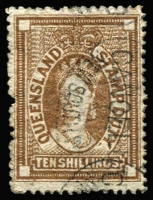 Lot 997:1871-72 Wmk Large Crown/Q 10/- brown, SG #F22, fiscally used, Cat £450.