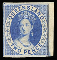 Lot 954 [2 of 2]:1860s Chalon Proof 2d bright blue & 2d blue on ungummed wove paper, close to large margins (2)