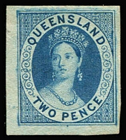 Lot 954 [1 of 2]:1860s Chalon Proof 2d bright blue & 2d blue on ungummed wove paper, close to large margins (2)