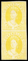 Lot 956:1868-78 Small Chalon Wmk 1st Crown/Q Perf 13 4d First Transfer imperforate plate proof vertical pair in yellow on thin card, margins good with complete outer framelines.