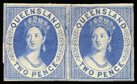 Lot 955:1868 2d Blue Chalon Plate II imperf horizontal pair. Very attractive - ex Pack.
