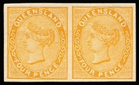 Lot 958:1879-80 Sideface Wmk 1st Crown/Q 4d imperforate plate proof pair in yellow-orange on thin card, nice even margins.