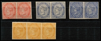 "Lot 959 [2 of 2]:1879-80 Sideface Wmk 1st Crown/Q imperforate plate proof horizontal pairs on ungummed unwmked thick paper comprising 1d in dull blue (very scarce), 1d in scarlet (on thin wove paper), 2d in blue, 4d in yellow-orange (strip of 3) & 6d in yellow-green, mostly with good to large margins, a few very minor faults. Scarce ""set"". (4 pairs + 1 strip)"