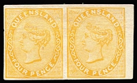 Lot 960:1879-81 Sideface Plate Proofs 4d yellow-orange imperforate plate proof pair on thin card, margins close to huge.