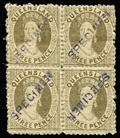 Lot 968 [1 of 2]:1868-74 Small Chalon Wmk Truncated Star Perf 13 group with 'SPECIMEN' handstamp comprising 1d with huge sheet margin at base, 2d postally used in 1881, 3d block of 4 (inverted on the last unit), 1/- greenish grey (very scarce) & 1/- violet (reading downwards), the 1d & 3d block with large-part og. (8)