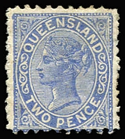 Lot 992:1887-89 Lined-Oval Die II Wmk 2nd Crown/Q Perf 9½x12 2d blue, SG #183, tiny thin, Cat £425.