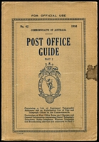 Lot 146 [2 of 2]:Australia: 1952 Post Office Guide Parts 1 & 2, part 1 has punch holes near spine, not affecting the text & part 2 has a list of all the Post & Telegraph Offices. A great resource for the postal historian or postmark collector. (2)
